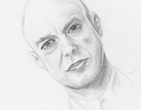 Brian Eno Pencil Portrait