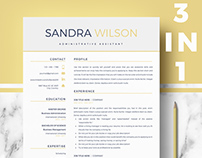 Resume template for word and Pages - Yellow & blue