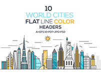 Set of Flat Line Color Banners of World Cities