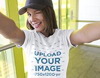 Selfie of a Beautiful Girl Wearing a T-Shirt Mockup
