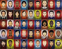 50 Legendary Football Players Portraits
