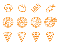 Food related icons and illustrations