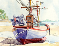 Watercolor boats