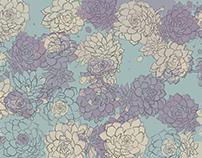 Hand drawn flowers Peony, Echeveria and Iris
