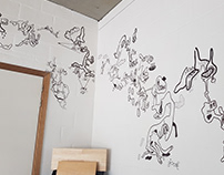 Walldrawing in a designcompany