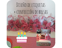 Confección de bolsas para Candybar + Etiquetas