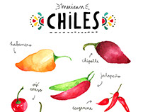 Watercolor mexican chiles