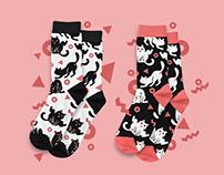 Cat Yoga Funny Modern Socks Design