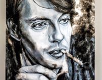 Fabrizio De Andrè smokes