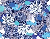 Koi Carp and Water lilies Pattern