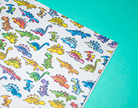 Funky Dinosaur Party - repeat pattern for sketchbook