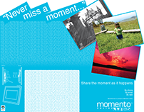 Momento picture frame, illustrations and packaging