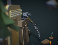 Stylized mobile game scene. Weapons draft + color