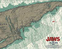 Jaws CHUM CHART Officially Licensed Screen-Print