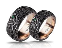 Viking ring, fenrir ring, fenrir wolf