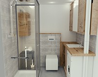 bath and kitchen in flat