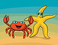 Characterdesign Starfish and Crab