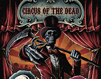 Poster art for Deathmetal fest called CircusOfTheDead