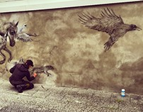 Kol_restaurant - charcoal wall work