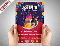 Kids Birthday Party Invitation Flyer PSD