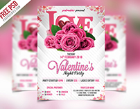 Free PSD : Premium Valentines Party Flyer PSD Template