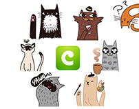 """Curious Cats"" Stickers Pack for COCO app"