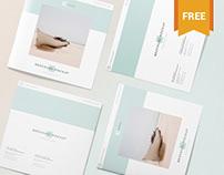 Free Square Brochure Mockup Scene