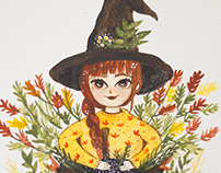 Autumn witch in watercolor