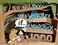 How Much Wood Woodchuck cut paper tunnel book