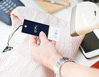 Free Barcode boutique brand Price Tag PSD Mockup