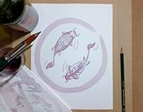 Fish painted using wine