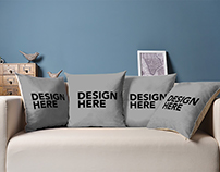 4 Pillows on Couch Mockup