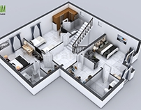 3D Floor Plan of 3 Story House with Cut-Section View