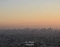 Sunset in Sharjah and Burj Khalifa