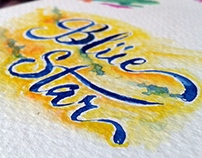 'BLUE' Watercolor Lettering on 300gsm