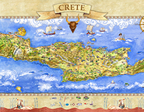 Crete Tourist Map. Greece.