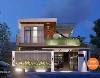 Thiết kế nhà biệt thự hiện đại 2 tầng 3 phòng ngủ 8x14m