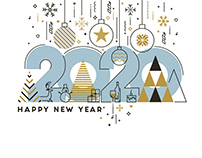 Flat line design concept banner - Happy New Year 2020