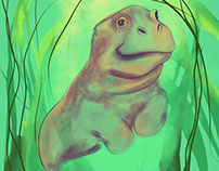 Diving Hippo and Seaweeds