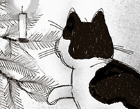 The cat and the christmas tree