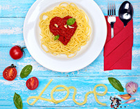 Delicious pasta with sauce in shape heart Valentine day