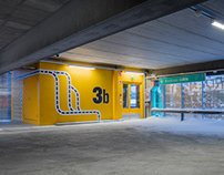 Colorful wayfinding for a parking house