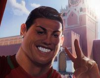 Cristiano Ronaldo selfie next to Kremlin fan-art