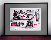 Drawing of Nike®, Inc sneakers   21x29,7 cm