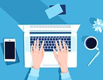 Female hands working on modern laptop