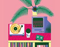 Turntables, plants & furniture