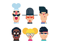 Flat Design Characters - Face illustrations