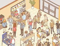 So many people in fast food reataurant