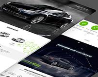 Electro car dealer and service landing page design.