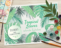 Tropical Leaves Watercolor Illustrations